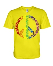 Peace Sign Rainbow Hearts V-Neck T-Shirt tile