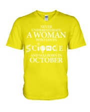 OCTOBER WOMAN LOVE SCIENCE V-Neck T-Shirt thumbnail