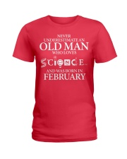 FEBRUARY OLD MAN LOVES SCIENCE Ladies T-Shirt thumbnail