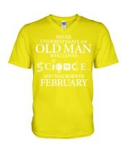 FEBRUARY OLD MAN LOVES SCIENCE V-Neck T-Shirt thumbnail