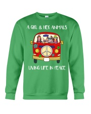A Girl And Her Animals Living Life In Peace 2 Crewneck Sweatshirt thumbnail