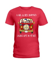 A Girl And Her Animals Living Life In Peace 2 Ladies T-Shirt thumbnail