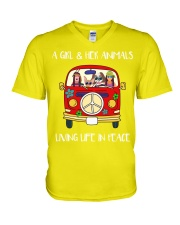 A Girl And Her Animals Living Life In Peace 2 V-Neck T-Shirt thumbnail