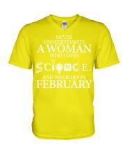 FEBRUARY WOMAN LOVE SCIENCE V-Neck T-Shirt thumbnail
