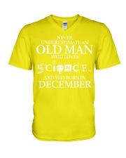 DECEMBER OLD MAN LOVES SCIENCE V-Neck T-Shirt thumbnail