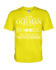 NOVEMBER OLD MAN LOVES SCIENCE V-Neck T-Shirt thumbnail