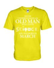 MARCH OLD MAN LOVES SCIENCE V-Neck T-Shirt thumbnail