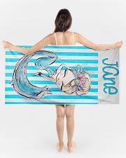 Blonde Mermaid Stripe Monogram Beach Towel Beach Towel aos-tc-beach-towels-lifestyle-front-01