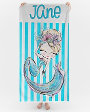 Blonde Mermaid Stripe Monogram Beach Towel Beach Towel aos-tc-beach-towels-lifestyle-front-04