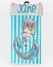 Blonde Mermaid Stripe Monogram Beach Towel Beach Towel aos-tc-beach-towels-lifestyle-front-05