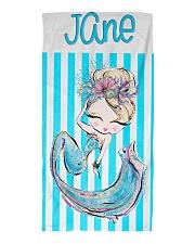 Blonde Mermaid Stripe Monogram Beach Towel Beach Towel front