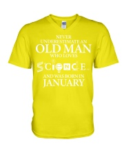 JANUARY OLD MAN LOVES SCIENCE V-Neck T-Shirt thumbnail