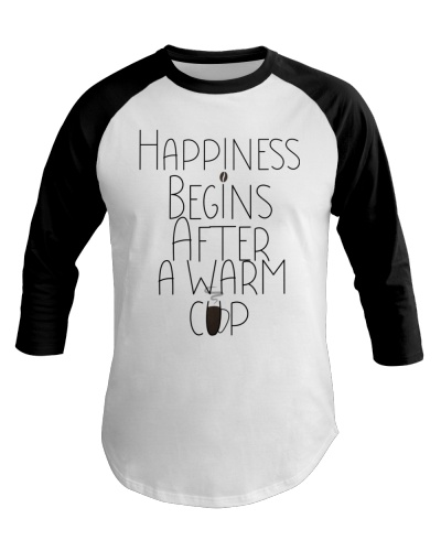 HAPPINESS BEGINS AFTER WARM CUP Coffee Read Book