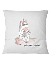 Read And Dream Reading Unicorn Square Pillowcase back