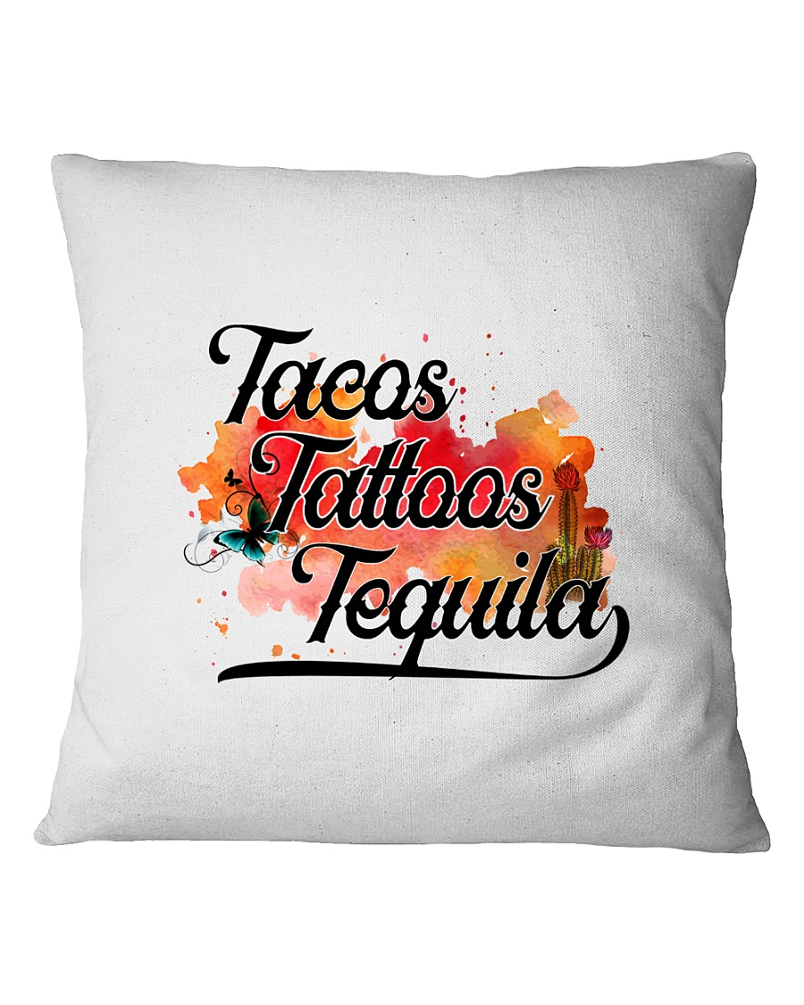Tacos Tattoos Tequila High Quality Classic Tee Square Pillowcase