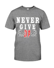 Never Give Up -- MoSalah's T-shirt quote -- Premium Fit Mens Tee front