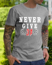 Never Give Up -- MoSalah's T-shirt quote -- Premium Fit Mens Tee lifestyle-mens-crewneck-front-7