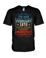 50th Birthday February 1970 Man Myth Legends V-Neck T-Shirt tile