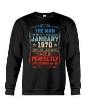 50th Birthday January 1970 Man Myth Legends Crewneck Sweatshirt tile