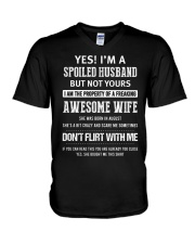 Yes I'm a spoiled Husband of An August Wife V-Neck T-Shirt tile