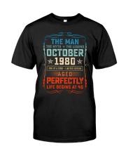 40th Birthday October 1980 Man Myth Legends Classic T-Shirt front