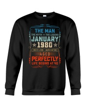40th Birthday January 1980 Man Myth Legends Crewneck Sweatshirt tile