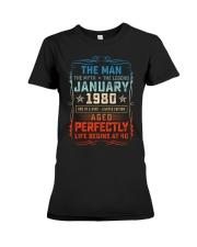 40th Birthday January 1980 Man Myth Legends Premium Fit Ladies Tee tile