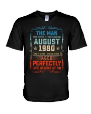 40th Birthday August 1980 Man Myth Legends V-Neck T-Shirt tile