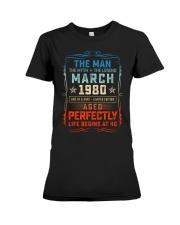 40th Birthday March 1980 Man Myth Legends Premium Fit Ladies Tee tile