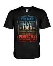40th Birthday May 1980 Man Myth Legends V-Neck T-Shirt tile