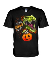 TRICK RAWR TREAT T-REX V-Neck T-Shirt tile