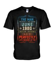 40th Birthday June 1980 Man Myth Legends V-Neck T-Shirt tile