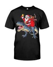Santa Riding Dinosaur T-shirt Rex Christmas  Classic T-Shirt front