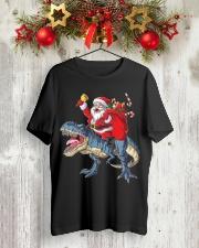 Santa Riding Dinosaur T-shirt Rex Christmas  Classic T-Shirt lifestyle-holiday-crewneck-front-2