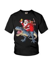 Santa Riding Dinosaur T-shirt Rex Christmas  Youth T-Shirt tile