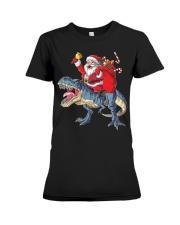 Santa Riding Dinosaur T-shirt Rex Christmas  Premium Fit Ladies Tee tile