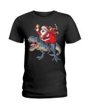 Santa Riding Dinosaur T-shirt Rex Christmas  Ladies T-Shirt tile