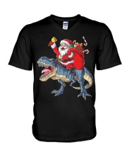 Santa Riding Dinosaur T-shirt Rex Christmas  V-Neck T-Shirt tile