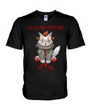 Clown Cat Kitten V-Neck T-Shirt tile