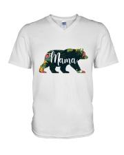 Women's Mama Bear Floral V-Neck T-Shirt tile