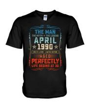 30th Birthday April 1990 Man Myth Legends V-Neck T-Shirt tile