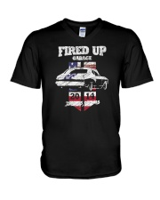 Fired Up Garage  - Flag of the United States V-Neck T-Shirt thumbnail
