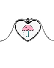 Jewelry Rain Umbrella Metallic Heart Necklace front