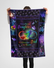 """Im A Proud Daughter Small Fleece Blanket - 30"""" x 40"""" aos-coral-fleece-blanket-30x40-lifestyle-front-14a"""