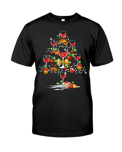 Tee2n1 Funny Wine Christmas Tree Holiday T shirt