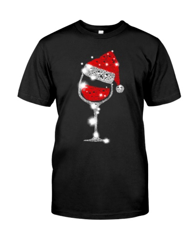 Tee2n1 Wine Glasses Santa Hat Christmas T-shirt