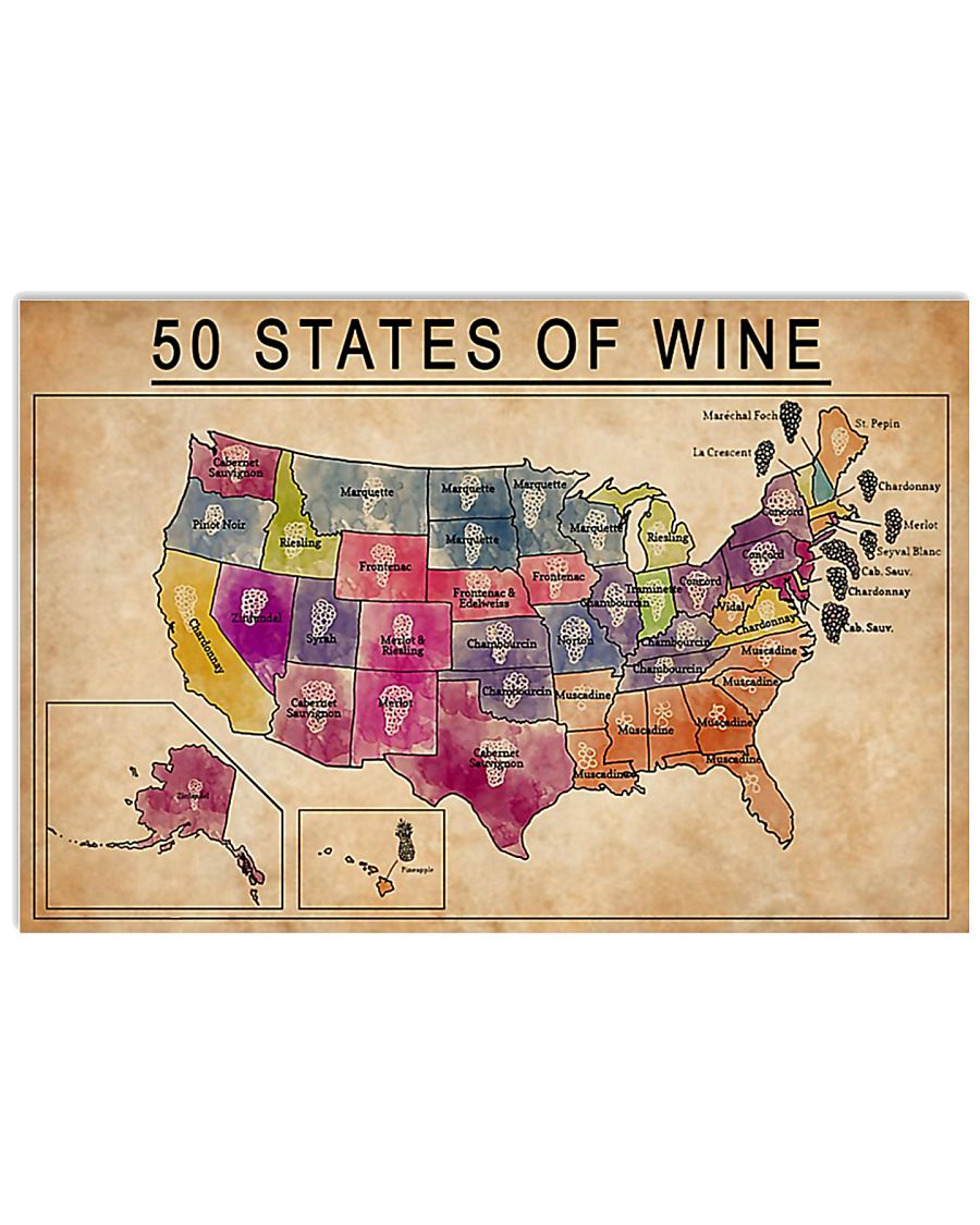 50 States Of Wine 17x11 Poster