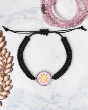 Pink Mandala Beaded Cord Bracelet Cord Circle Bracelet aos-bracelet-cord-front-lifestyle-1