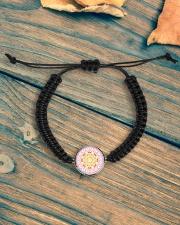 Pink Mandala Beaded Cord Bracelet Cord Circle Bracelet aos-bracelet-cord-front-lifestyle-4
