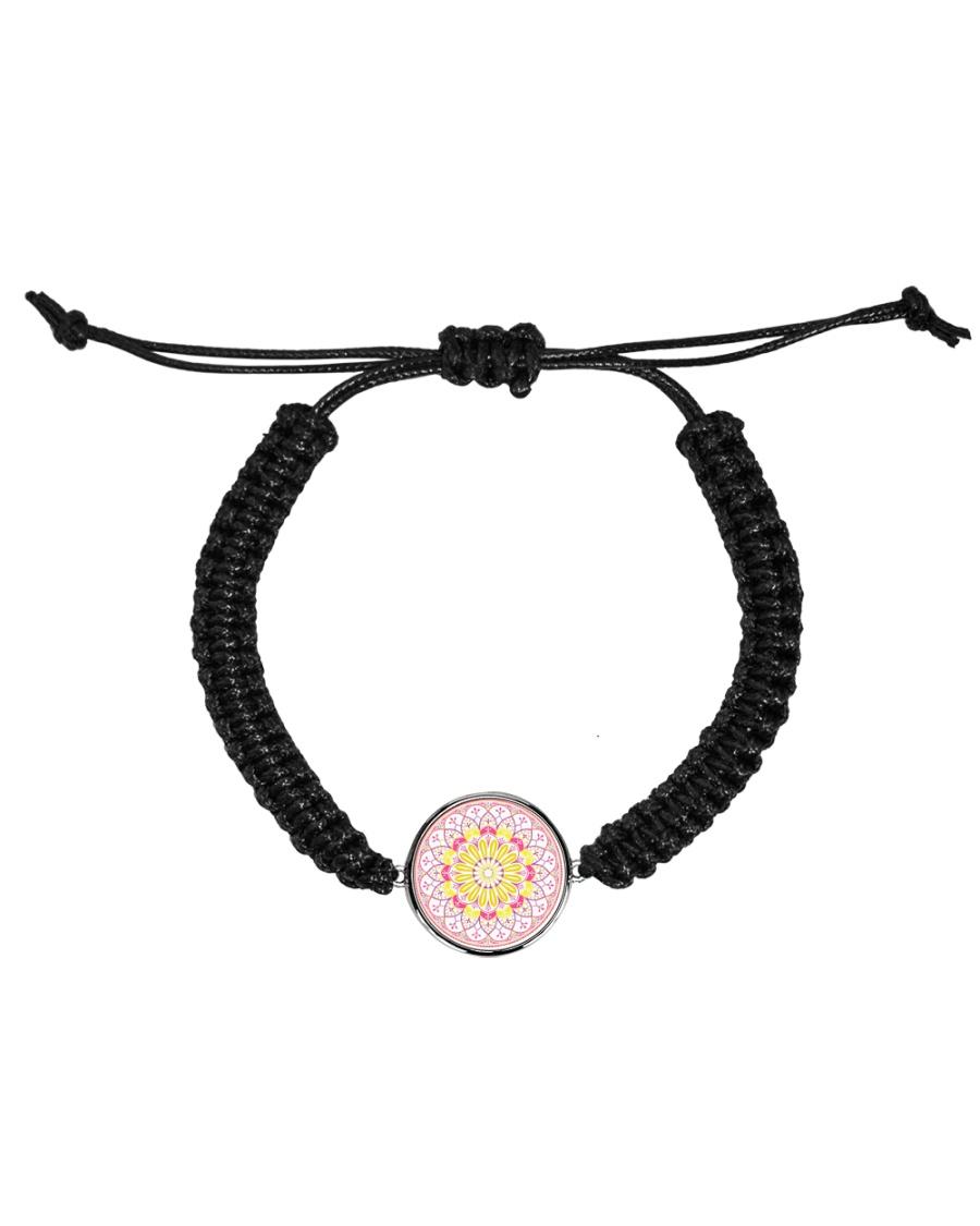 Pink Mandala Beaded Cord Bracelet Cord Circle Bracelet